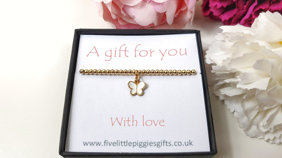 White butterfly gift bracelet