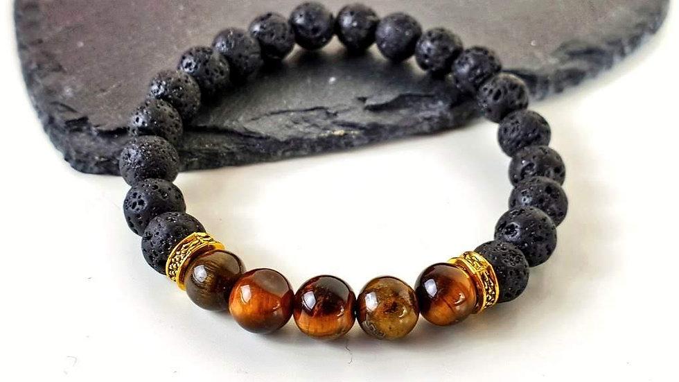 Men's Lava Rock and Tiger's Eye stretch bracelet