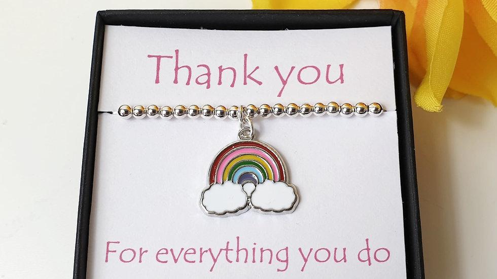 Thank you rainbow gift bracelet