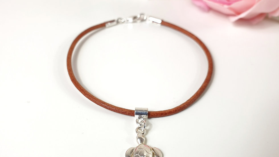 Sterling silver and leather turtle bracelet