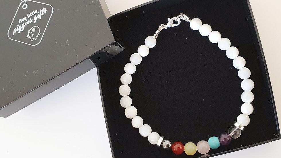 Seven stone chakra bracelet - mother of pearl