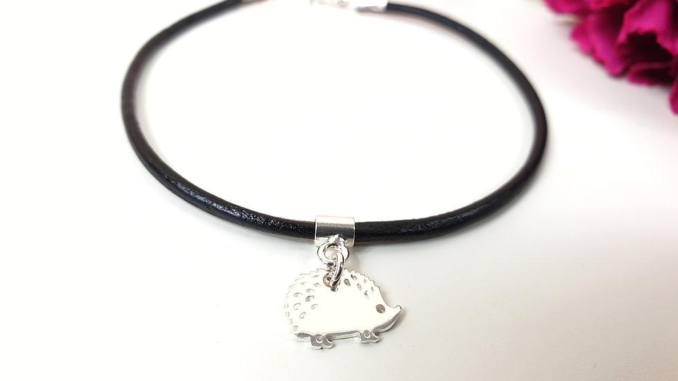 Sterling silver and leather hedgehog bracelet
