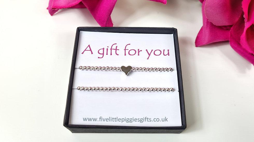 Slider heart gift bracelet set