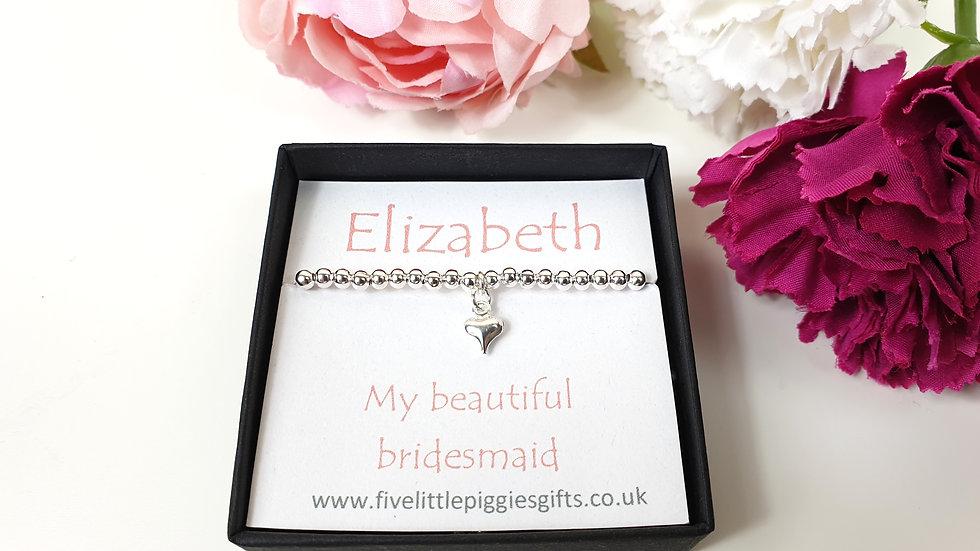 Bridesmaid gift bracelet - heart