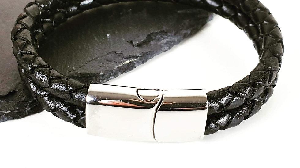 Men's double leather and steel slider bracelet
