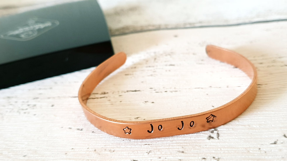 Personalised hand stamped copper bracelet