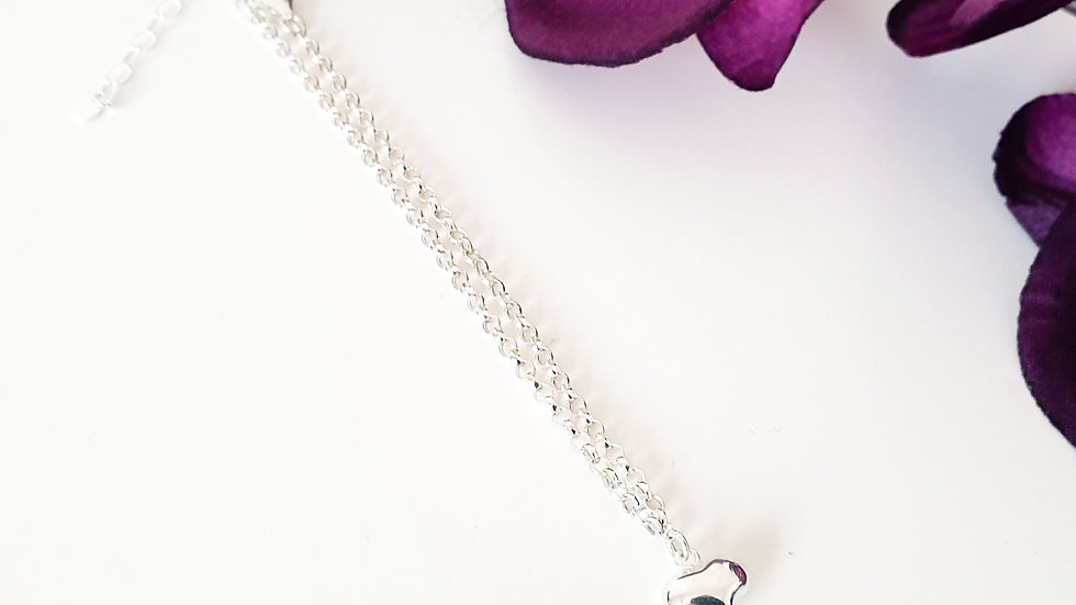 Heart anklet - sterling silver