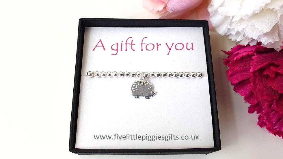 Sterling silver bead hedgehog bracelet