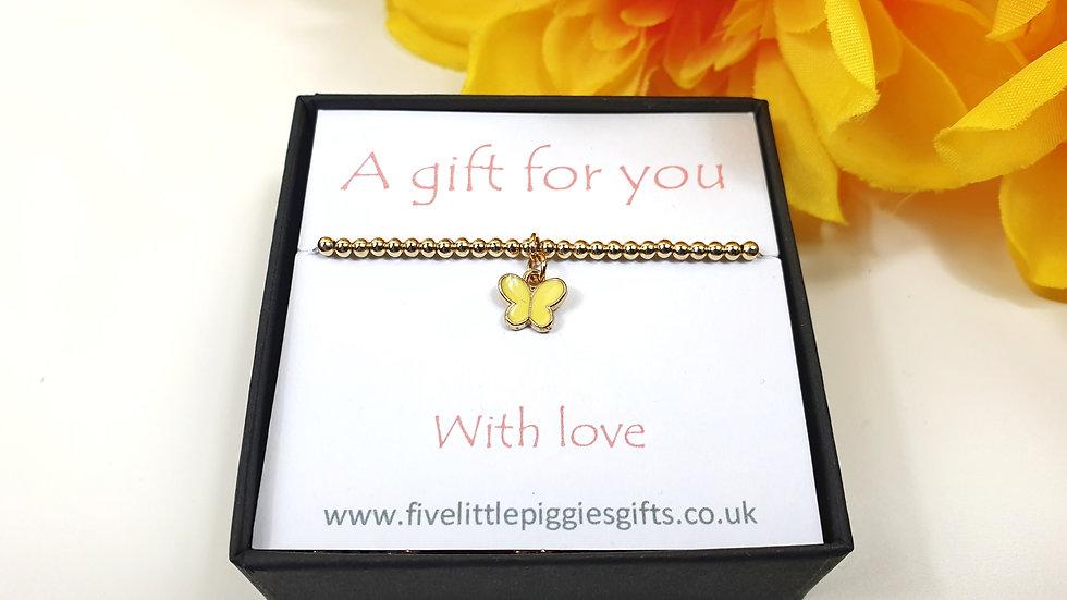 Yellow butterfly gift bracelet