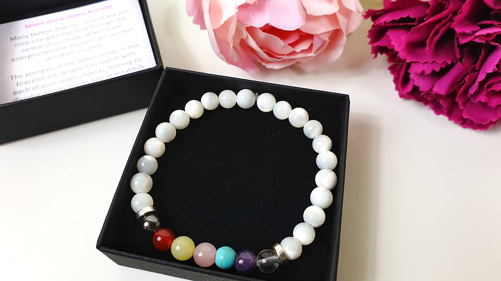 Seven stone chakra bracelet - mother of pearl