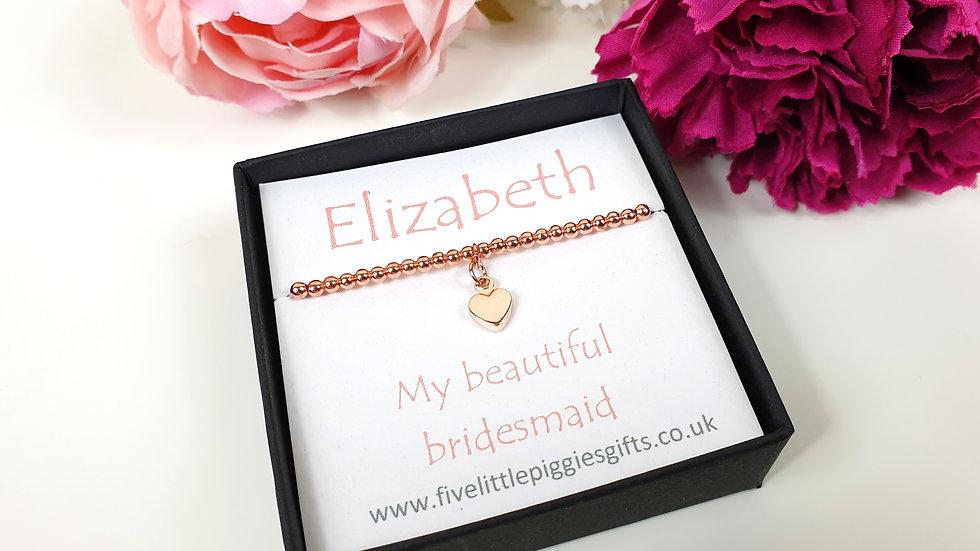 Bridesmaid gift bracelet- rose heart