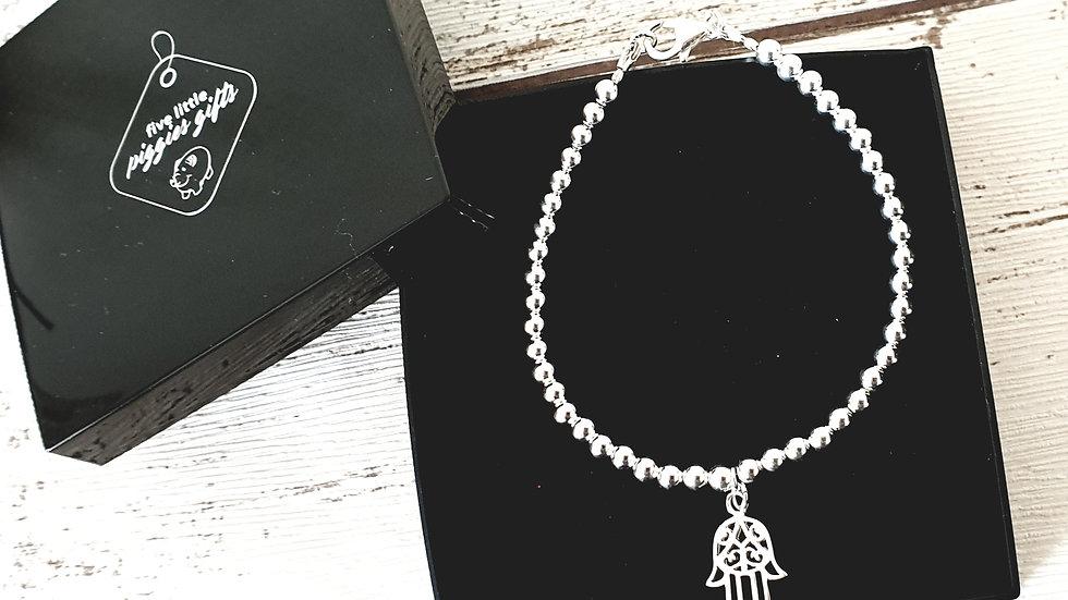 Women's sterling silver hamsa hand bracelet
