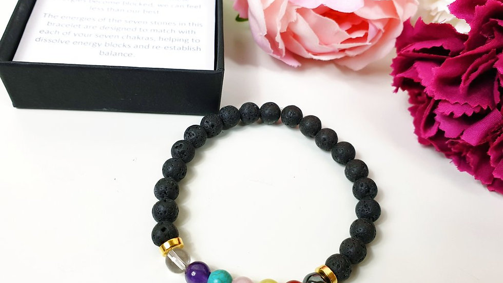 Seven stone chakra bracelet - lava rock