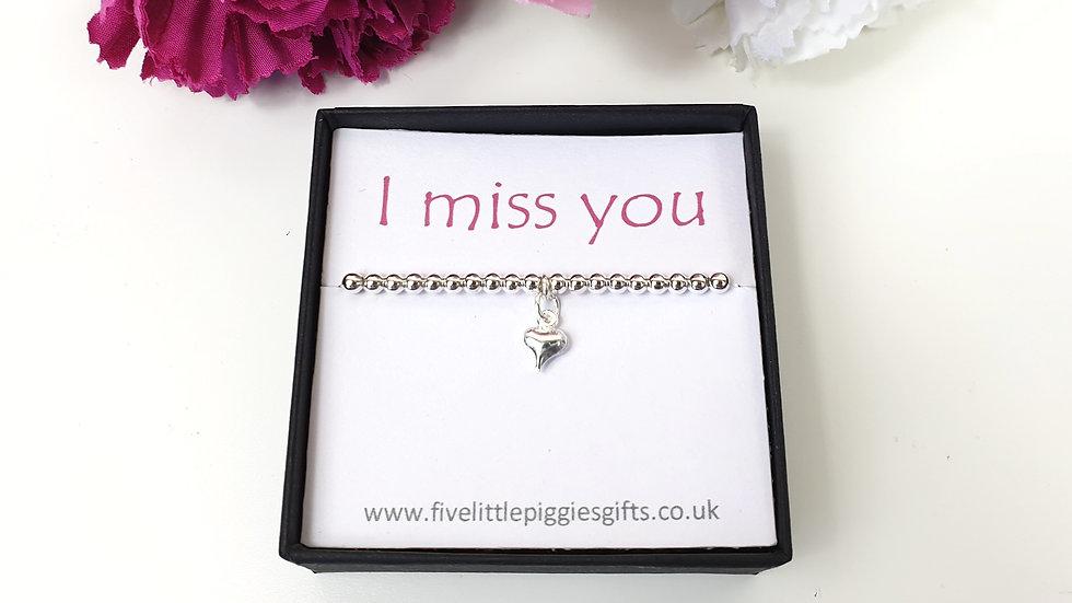 I miss you gift bracelet - heart