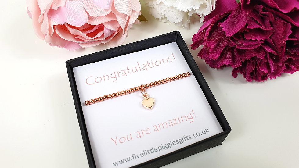 Congratulations gift bracelet - rose heart