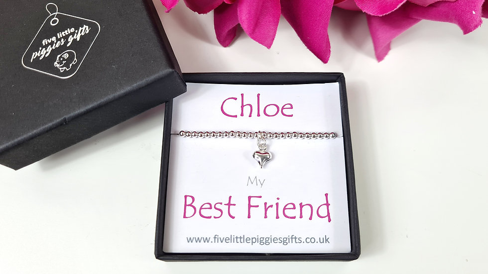 Personalised best friend boxed heart bracelet