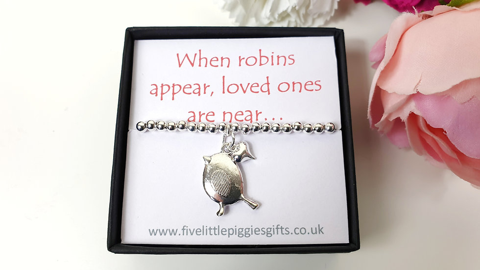 Robin and mini heart gift bracelet