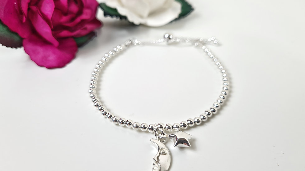 Sterling silver bead moon & star slider bracelet