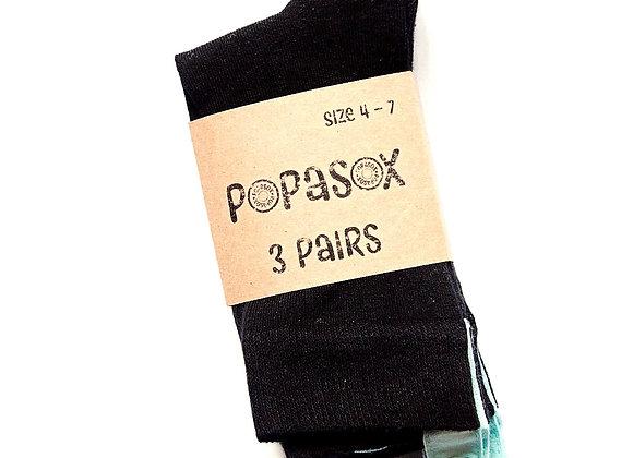 3 Pairs Black POPASOX Size 4-7