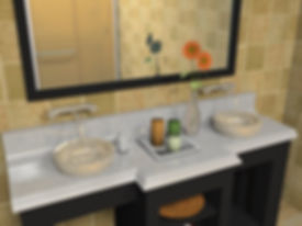 This interior scene was create by downloading a vanity, mirror and shower stall from the 3D Warehouse, right clicking on materials to set reflection and placing ceiling lights in the ceiling. This rendering took less than 1 minute to complete.