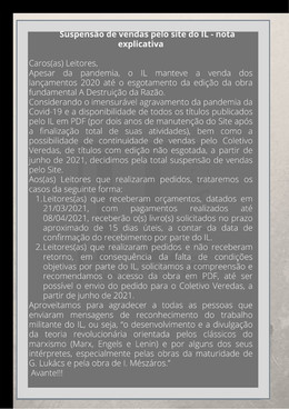 Suspensão das vendas pelo site do IL - nota explicativa