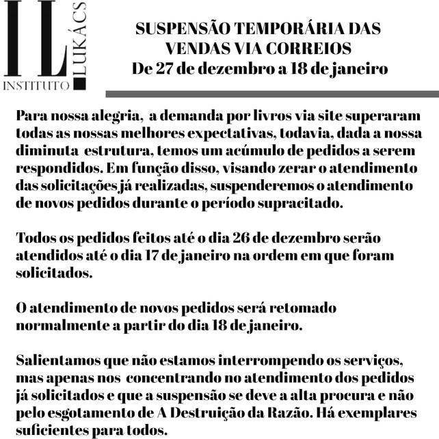SUSPENSÃO TEMPORÁRIA DAS VENDAS VIA CORREIOS