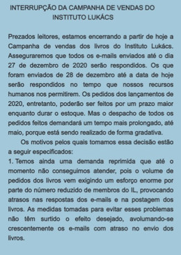 INTERRUPÇÃO DA CAMPANHA DE VENDAS DO INSTITUTO LUKÁCS