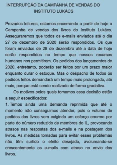 INTERRUPÇÃO DA CAMPANHA DE VENDAS DO INSTITUTO LUKÁCS
