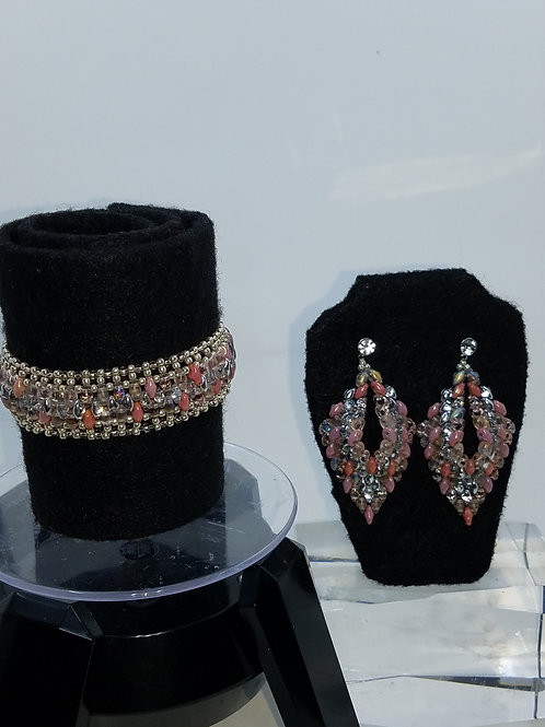 """Coral Allure"" Bracelet & Earring Set"