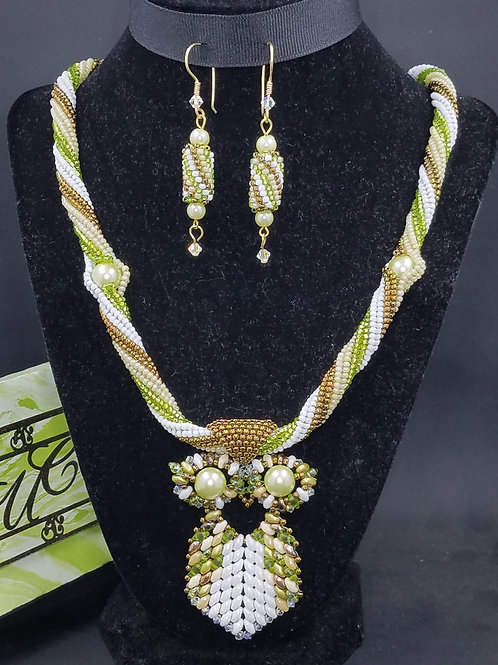 """Eminent Owl"" Necklace & Matching Earring Set"
