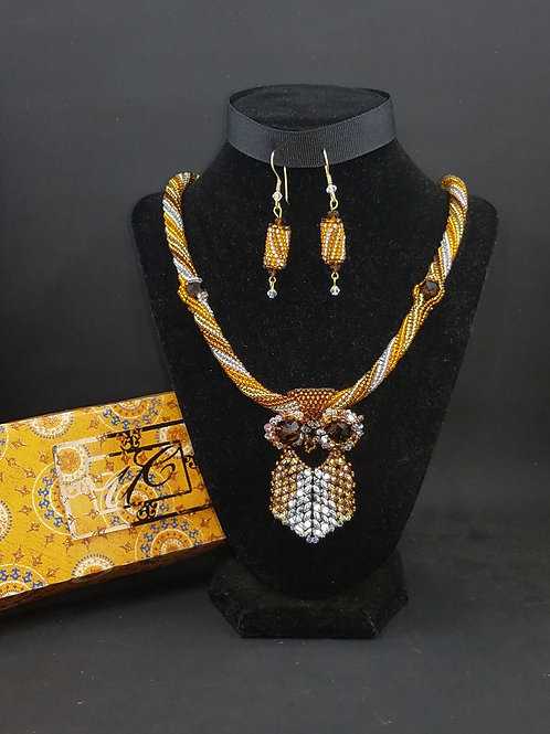 """Amber Owl"" Necklace & Earring Set"