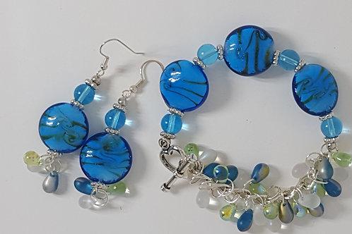 """""""Azure Fantasy"""" Bracelet & Earring Set"""