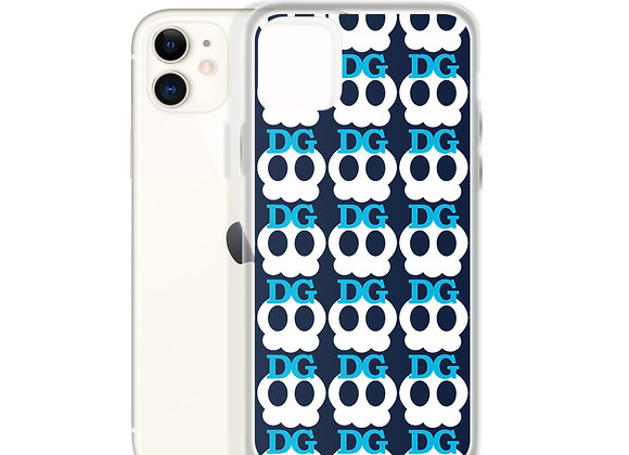 Deadgirl Skull Pattern iPhone Case (Blue Text)