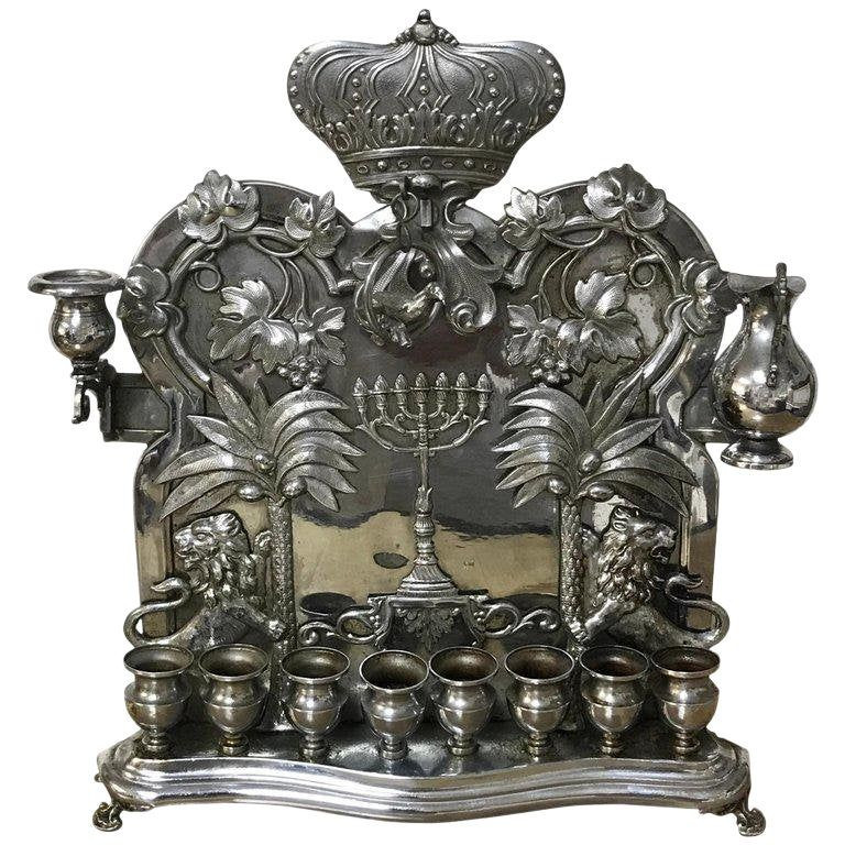 Antique silver plated Hannukah lamp, com
