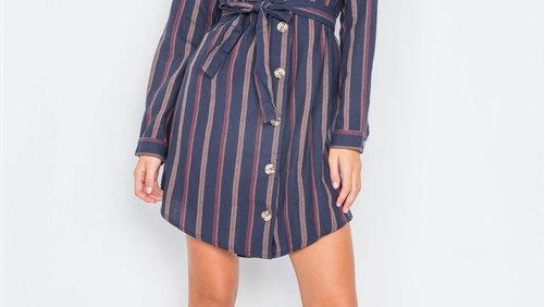 Navy Striped Button Down Dress