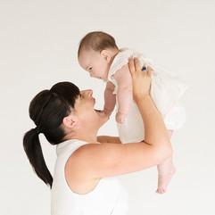Mother and baby studio portrait