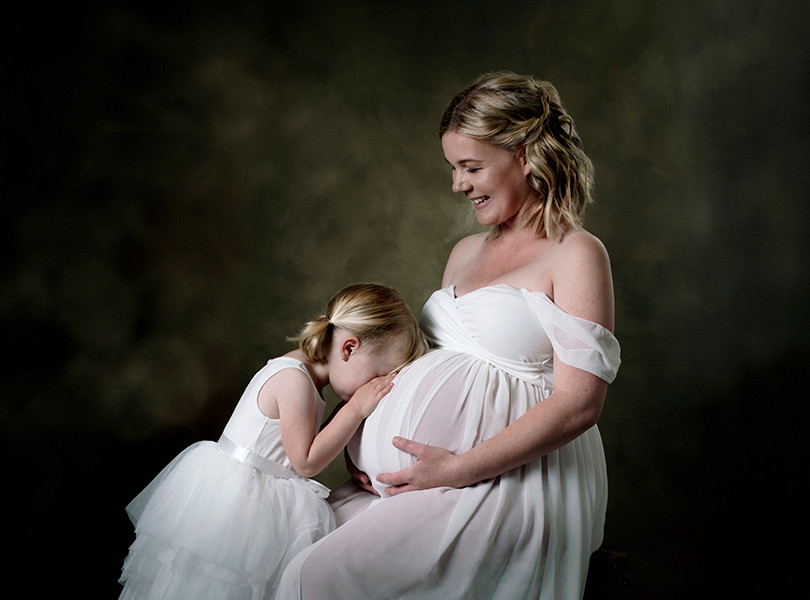 Fine art studio maternity portrait