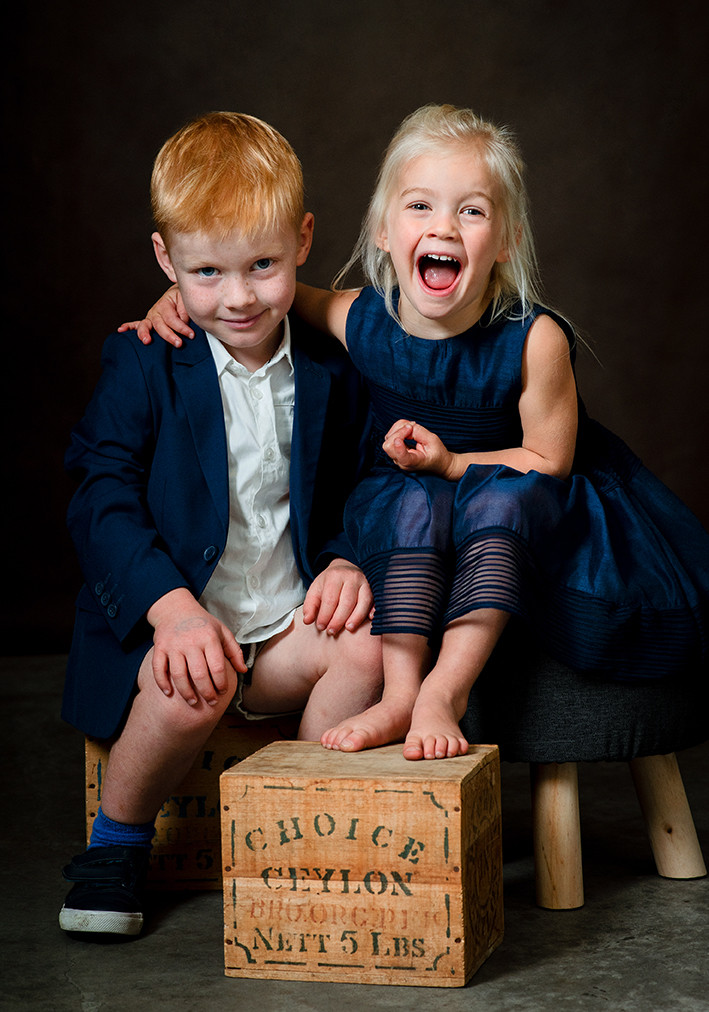 Fun family studio portrait