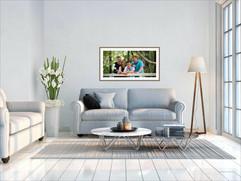 Framed family portrait in lounge