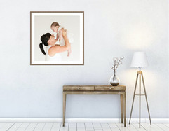 Framed mother and baby wall art