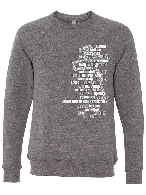 Cross Crewneck Sweatshirt : white lettering