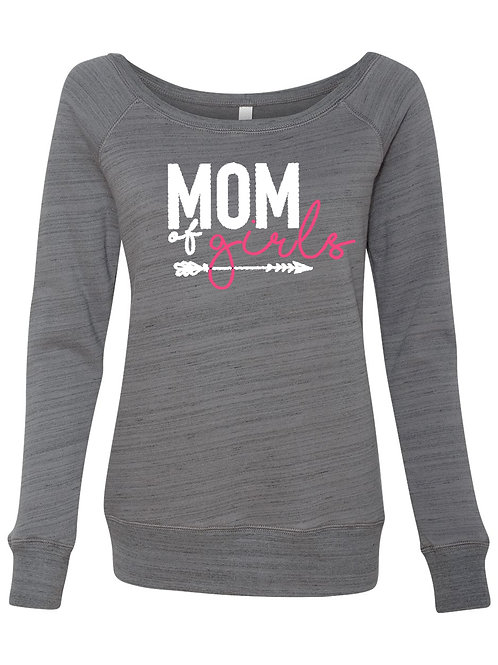 Mom of Girls Wideneck Sweatshirt