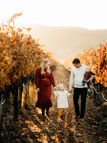 Family of four in vineyard, napa county family photographer diana jex