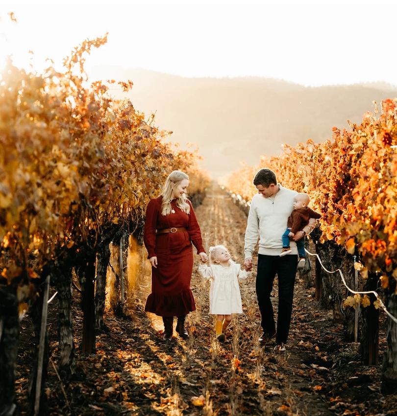 Family of four in vineyard, napa county family photographer diana jex