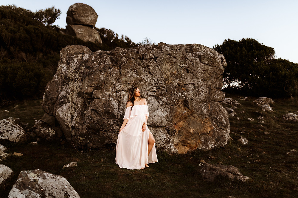 Pregnant mother standing next to large rock, maternity photo session, sunset, golden hour photography, pregnancy, motherhood, Sonoma, Marin, Napa family photographer for Sonoma County Diana Jex Photography