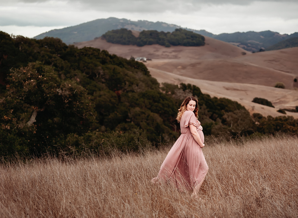 pregnant mom hugging her baby bump, looking over her shoulder, mom in beautiful long pink dress with floral pattern on sleeve, mountains in the background, wind blowing, Sonoma County photographer, Diana Jex