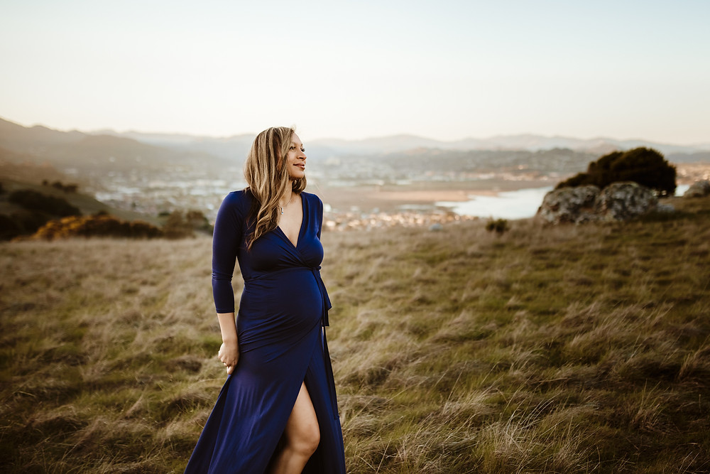 Pregnant mother in long blue dress, sunset golden hour family photo session, marin, Sonoma County, north bay, petaluma maternity photographer, petaluma family photography