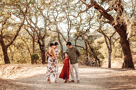 lifestlye family photographer for northern california, diana jex photography, family of four standing together with trees surrounding them