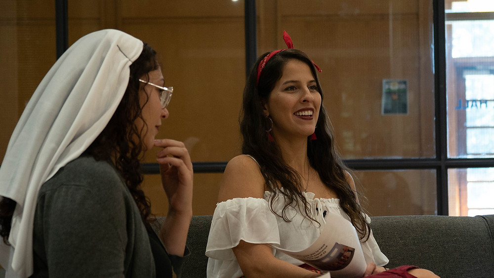 Dressed as a nun (my friend and classmate Cici) and myself (dressed as a gypsy) in costume for our ACES Halloween episode.