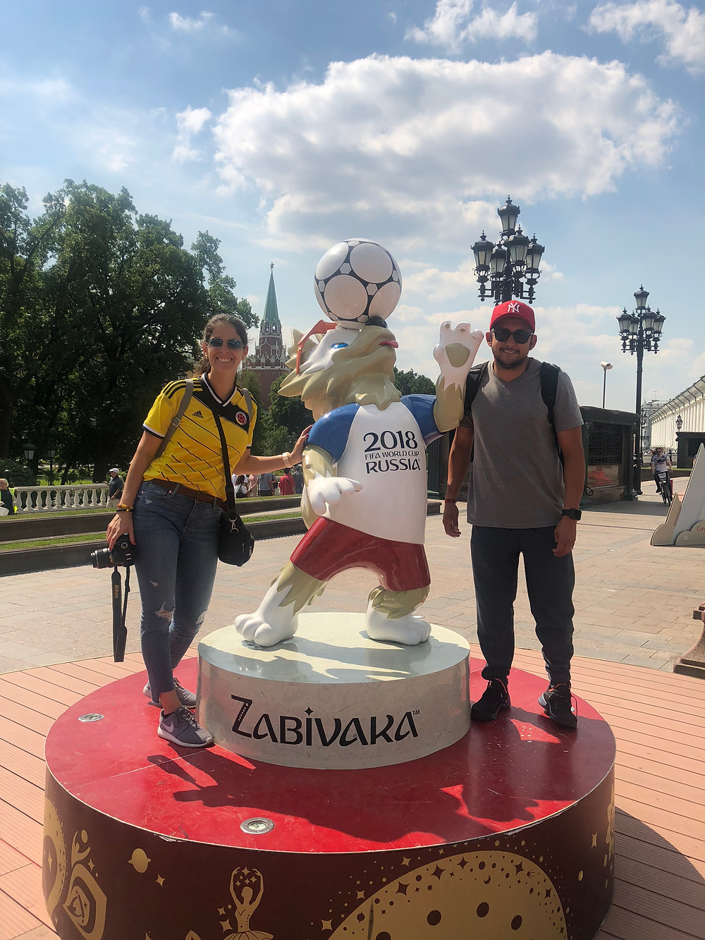 With Fifa mascot right outside Moscow Red Square